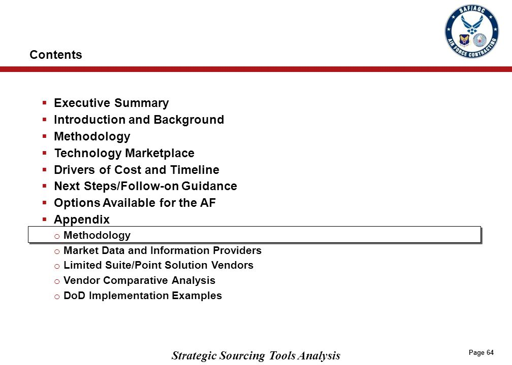 STRATEGIC SOURCING TECHNOLOGY RESEARCH AND ANALYSIS METHODOLOGY