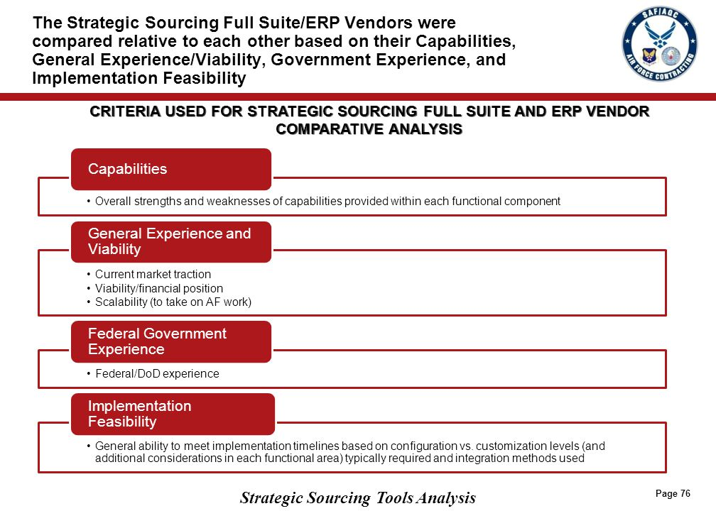 Based on a rating of Strategic Sourcing Full Suite/ERP Vendors across the four criteria, several have been identified as Tier 1 vendors