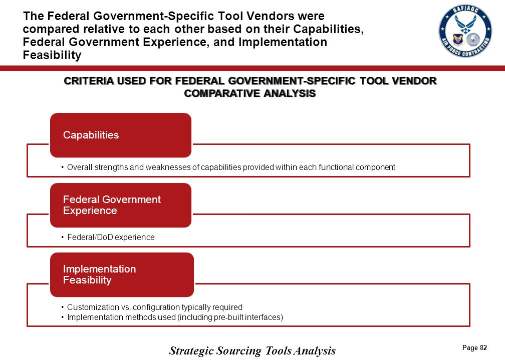 Based on a relative comparison of Federal Government-Specific Tool Vendors across the three criteria, Compusearch has the advantage over Distributed Solutions
