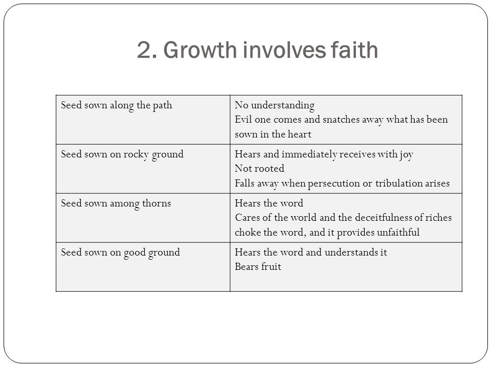 2. Growth involves faith Seed sown along the path No understanding