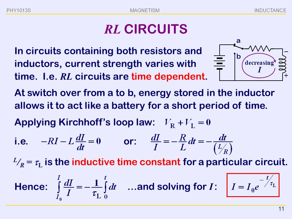 PHY1013S INDUCTANCE. RL CIRCUITS. a.