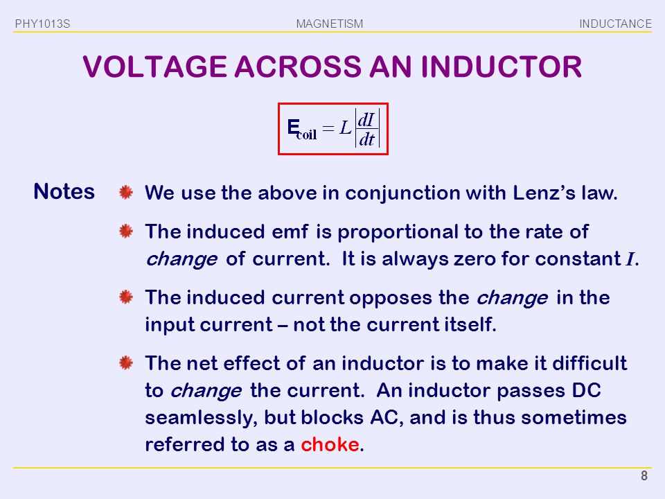 VOLTAGE ACROSS AN INDUCTOR
