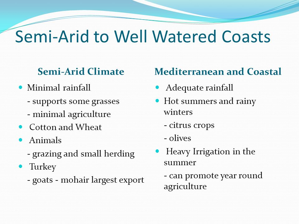 Semi-Arid to Well Watered Coasts