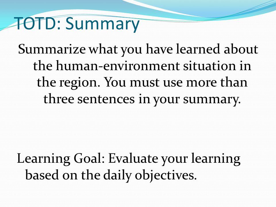 TOTD: Summary