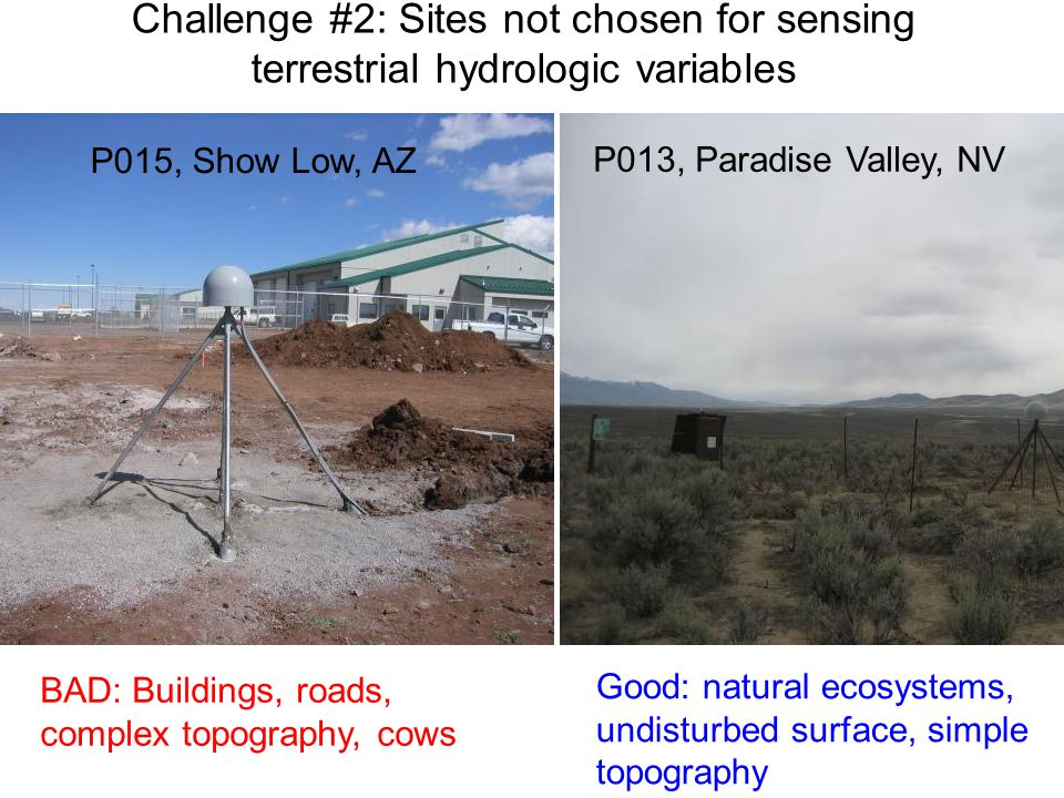 Challenge #2: Sites not chosen for sensing terrestrial hydrologic variables