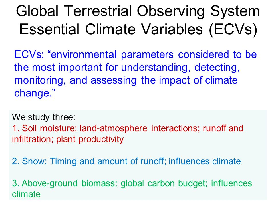 Global Terrestrial Observing System Essential Climate Variables (ECVs)
