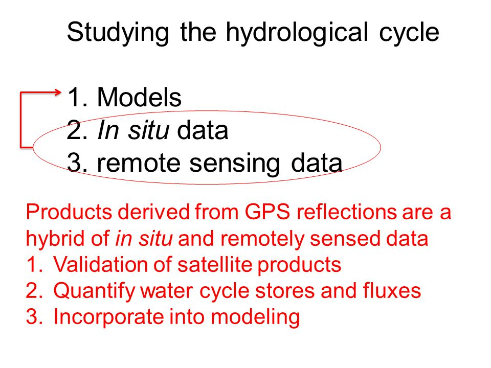 Studying the hydrological cycle 1. Models 2. In situ data 3