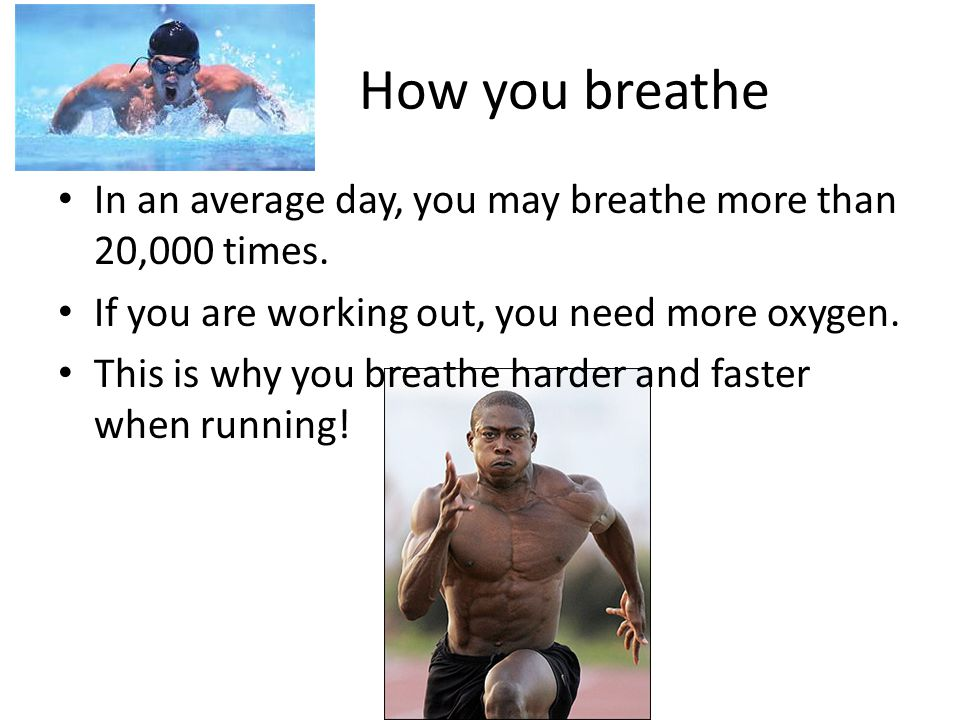 How you breathe In an average day, you may breathe more than 20,000 times. If you are working out, you need more oxygen.