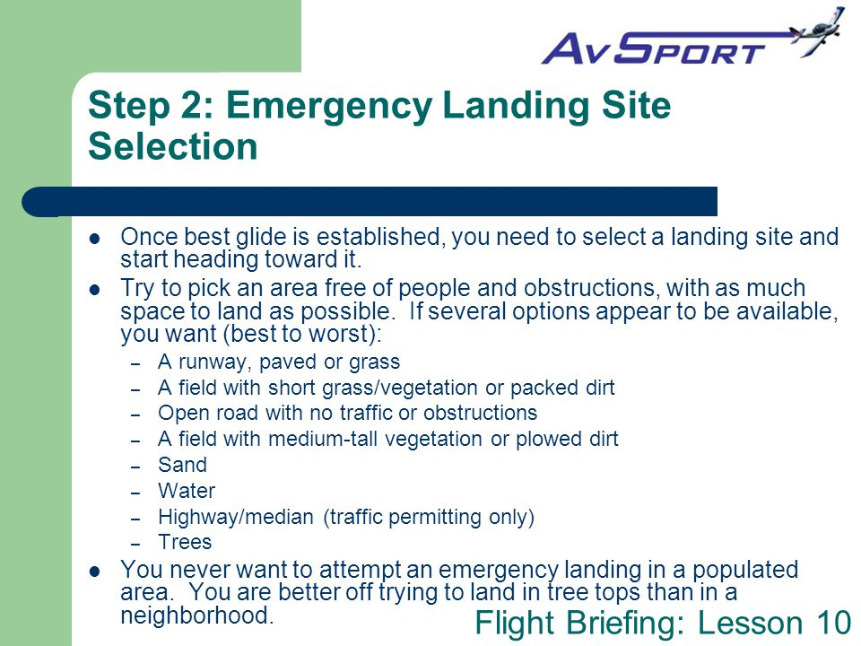 Step 2: Emergency Landing Site Selection