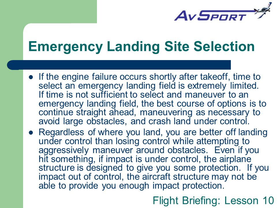 Emergency Landing Site Selection