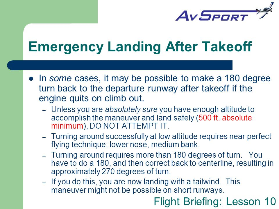 Emergency Landing After Takeoff