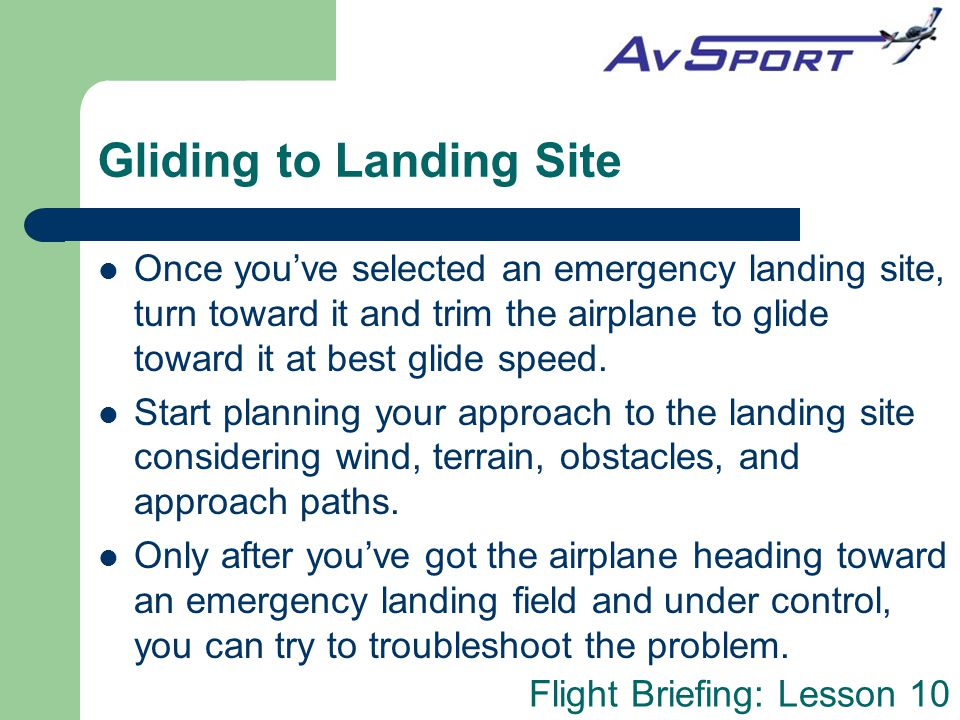Gliding to Landing Site