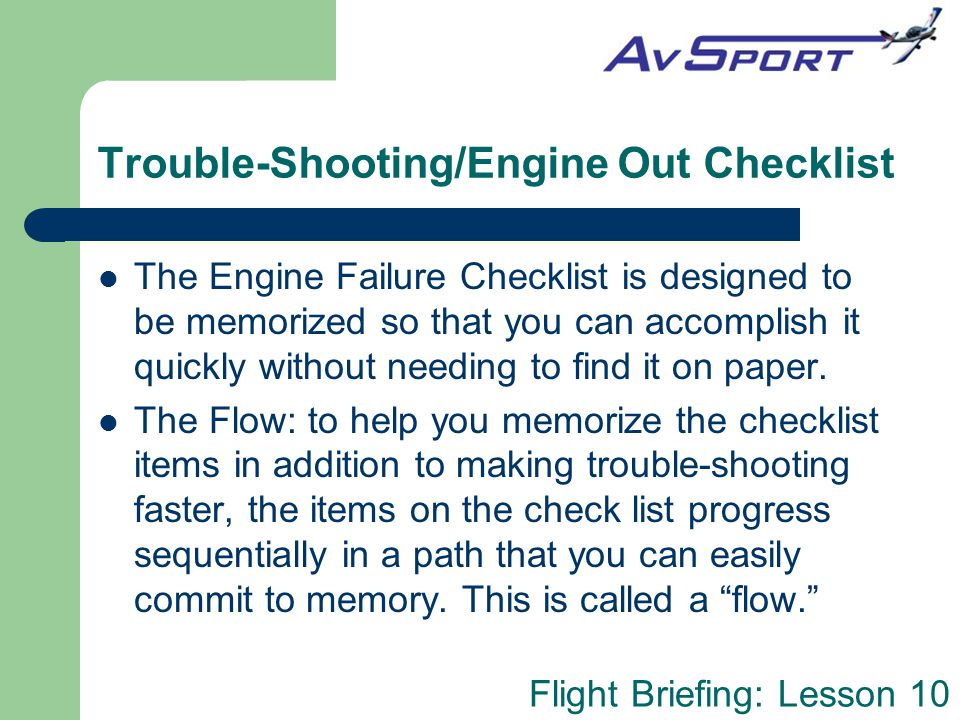 Trouble-Shooting/Engine Out Checklist