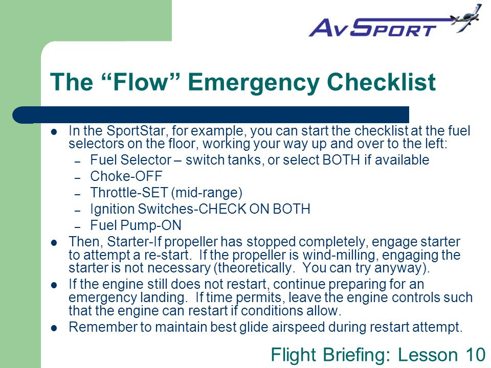 The Flow Emergency Checklist