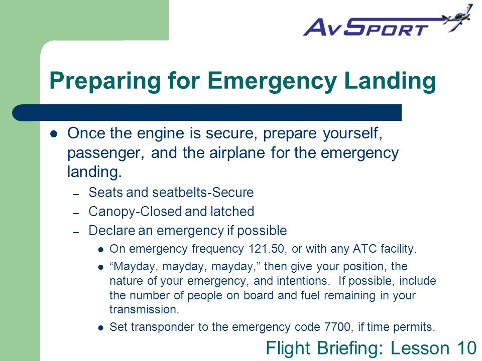 Preparing for Emergency Landing