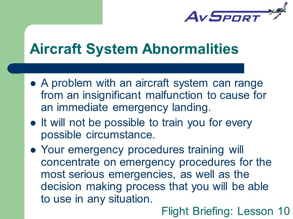 Aircraft System Abnormalities