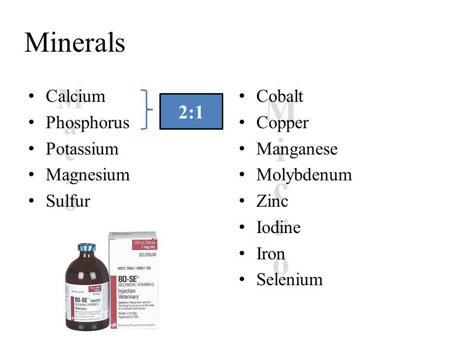M i c r o Minerals M a c r o 2:1 Calcium Phosphorus Potassium