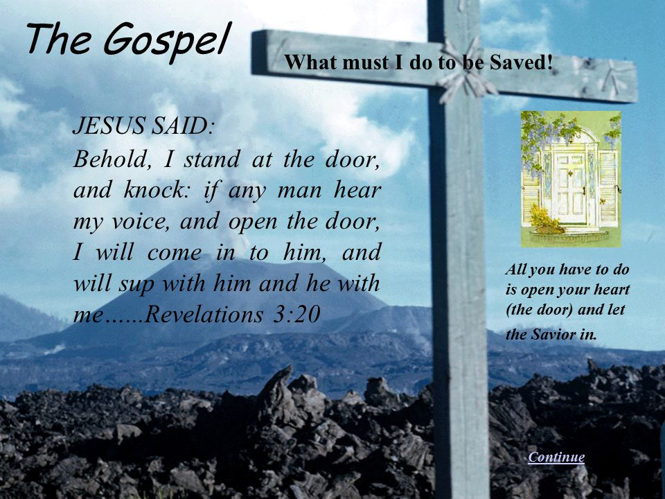 The Gospel What must I do to be Saved! JESUS SAID: