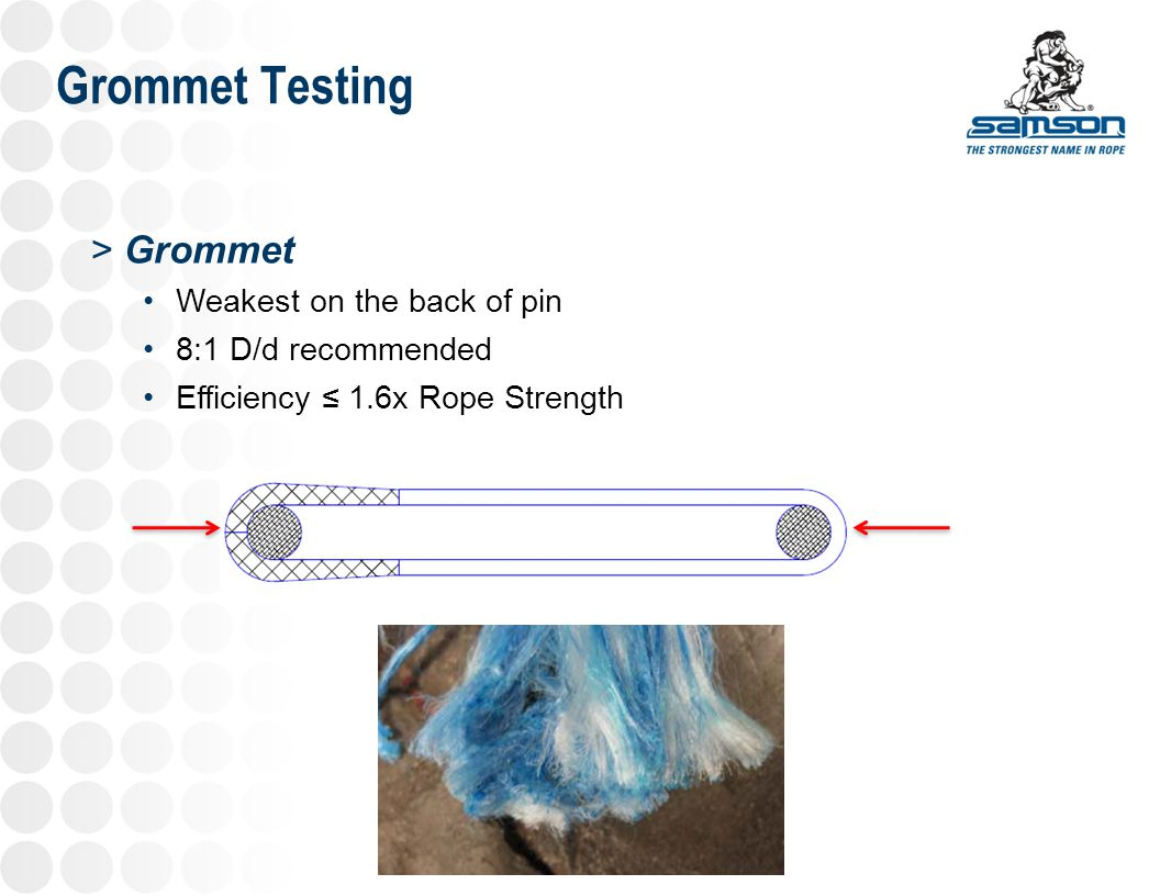 Grommet Testing Grommet Weakest on the back of pin 8:1 D/d recommended