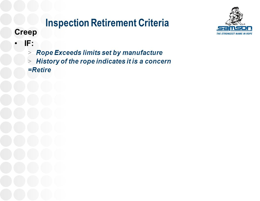 Inspection Retirement Criteria
