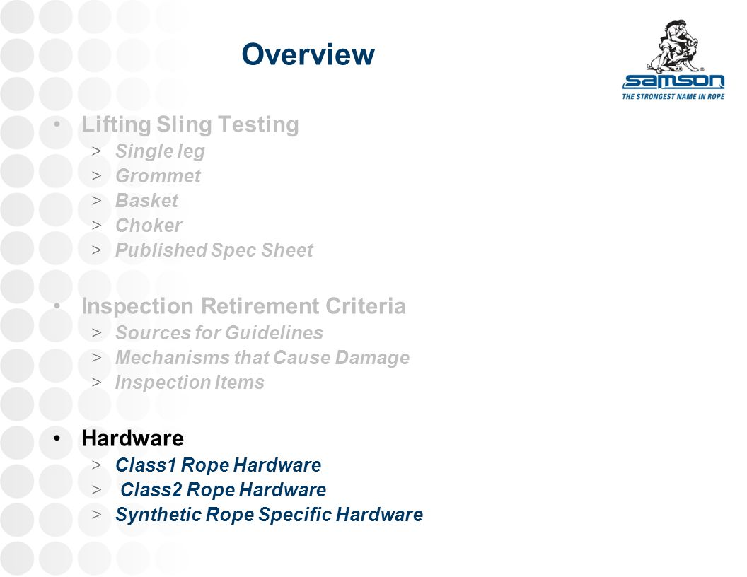 Overview Lifting Sling Testing Inspection Retirement Criteria Hardware
