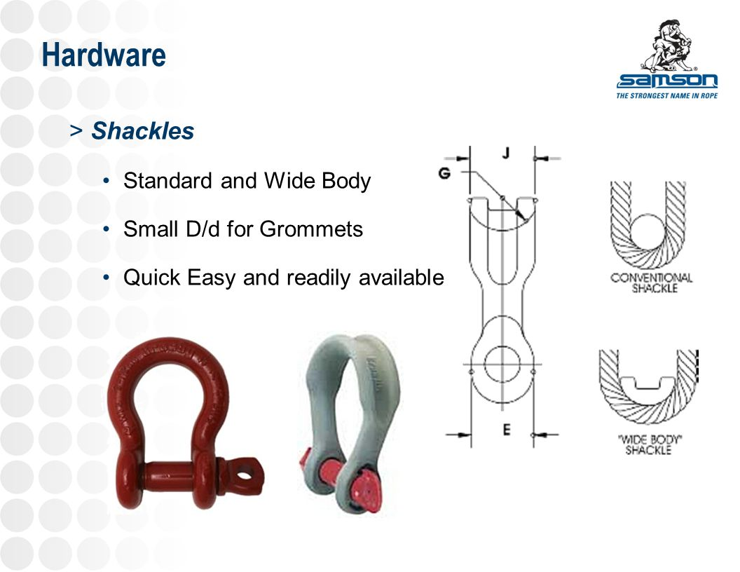 Hardware Shackles Standard and Wide Body Small D/d for Grommets