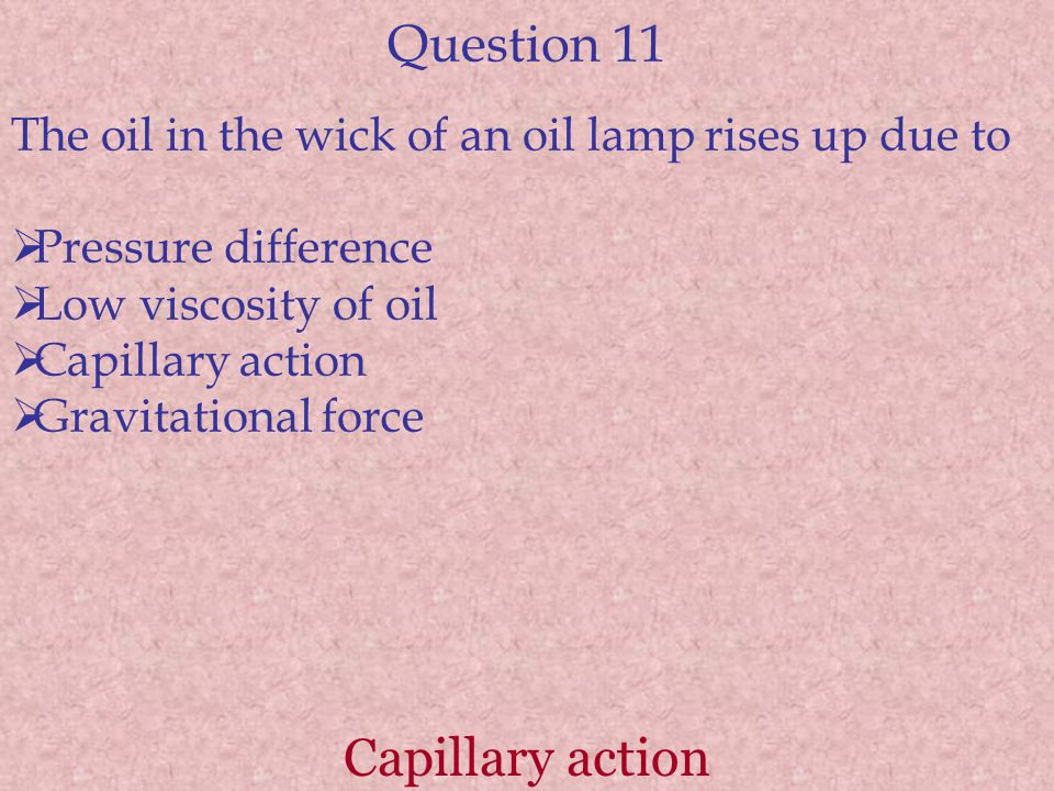 Question 11 Capillary action
