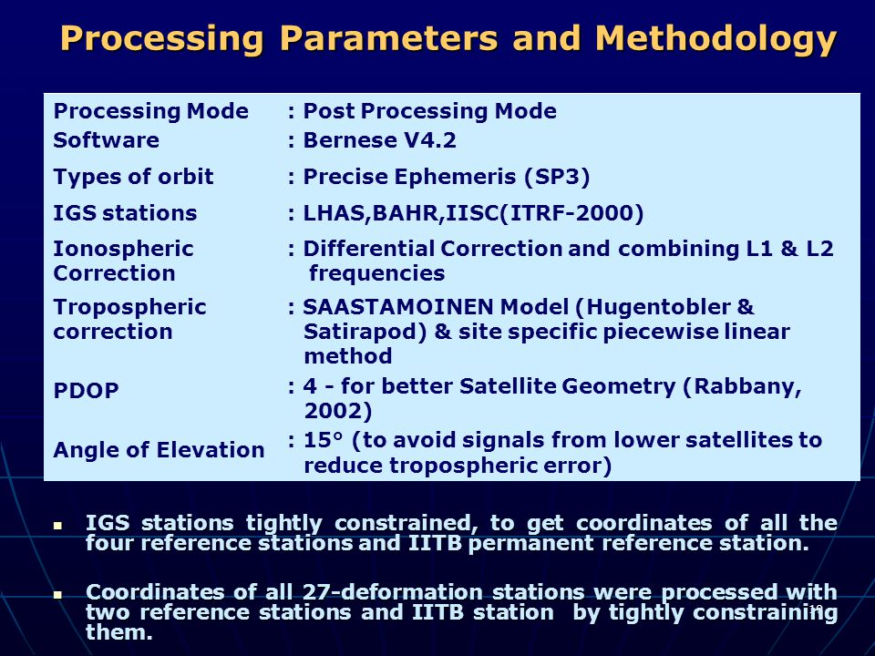 Processing Parameters and Methodology