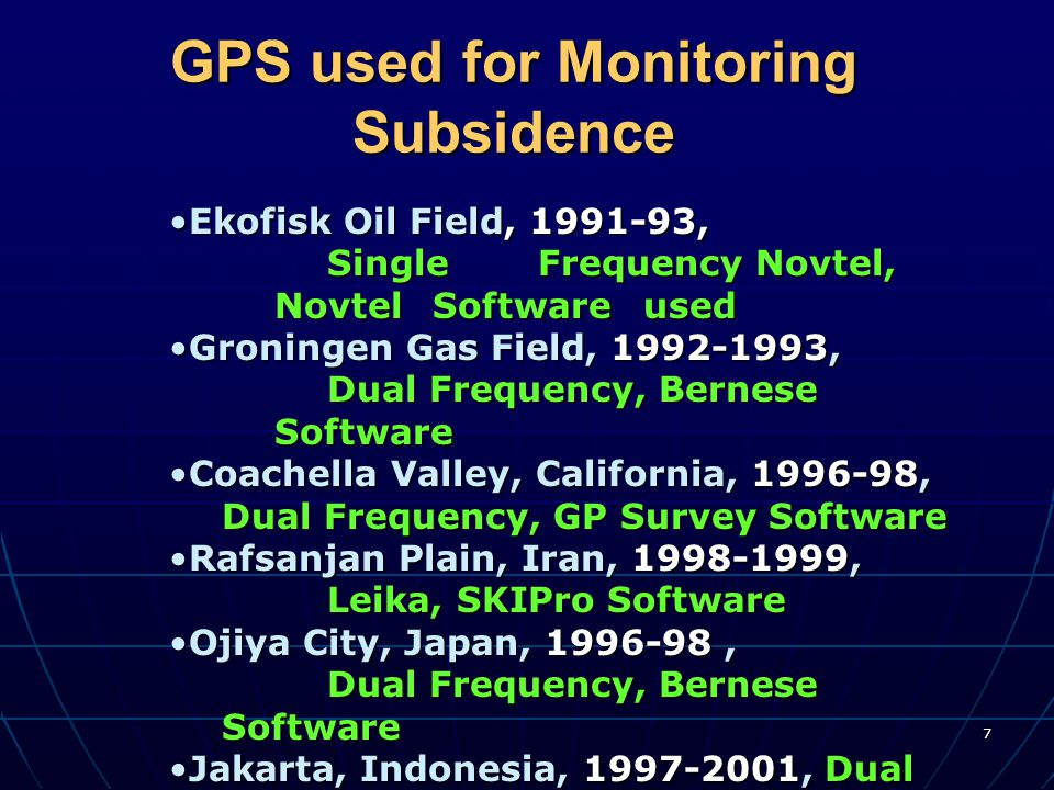 GPS used for Monitoring Subsidence