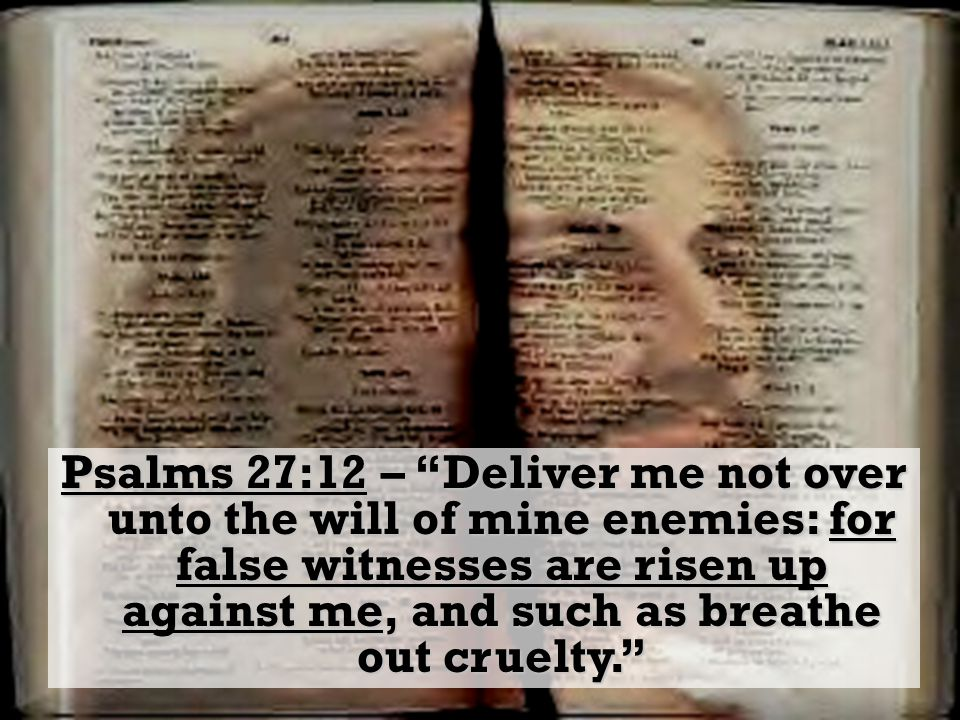 Psalms 27:12 – Deliver me not over unto the will of mine enemies: for false witnesses are risen up against me, and such as breathe out cruelty.