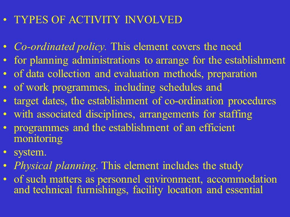 TYPES OF ACTIVITY INVOLVED