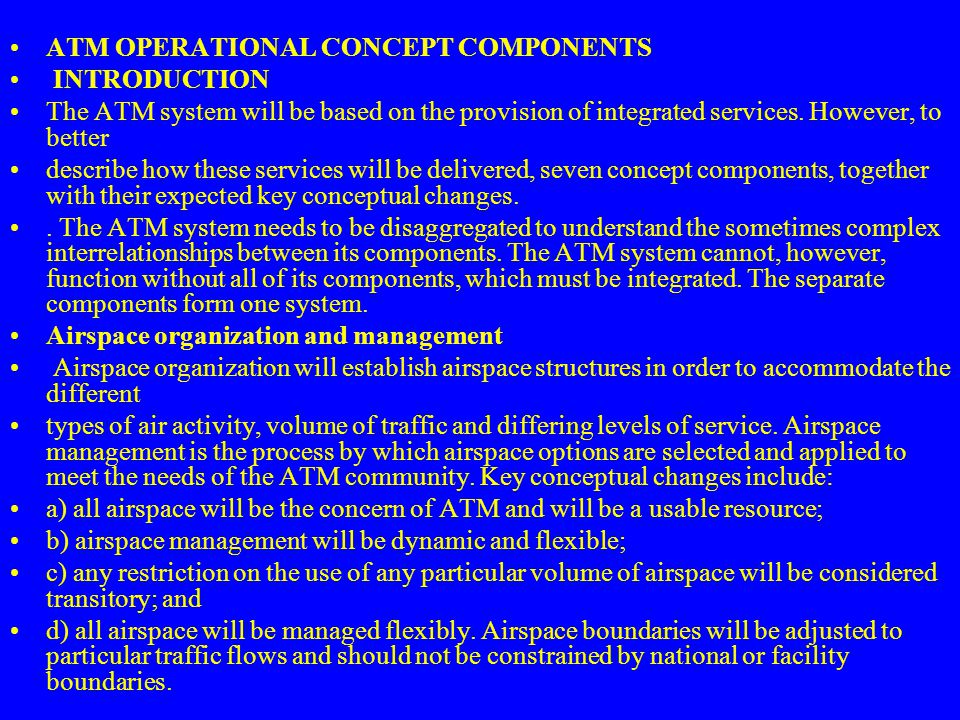 ATM OPERATIONAL CONCEPT COMPONENTS