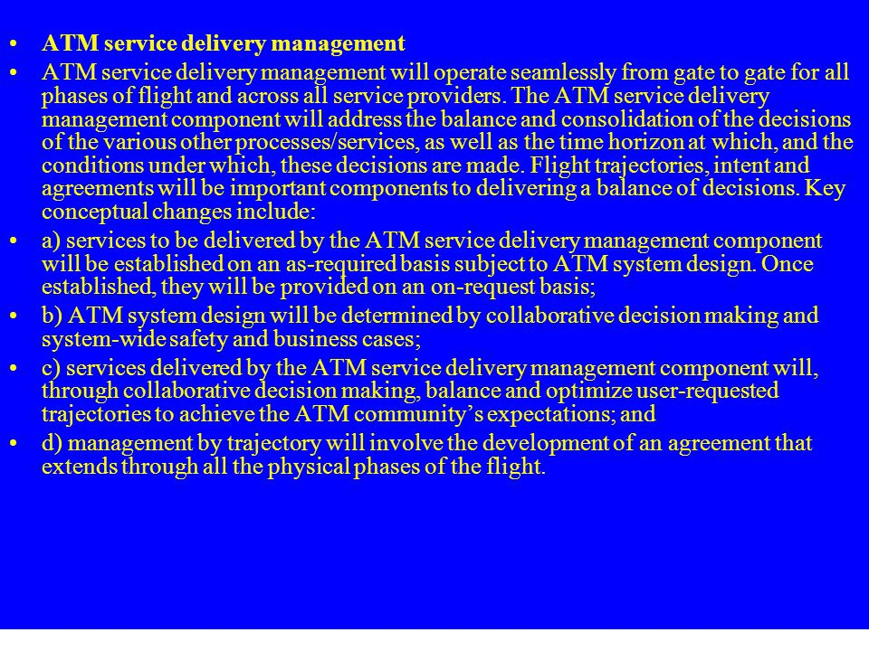 ATM service delivery management
