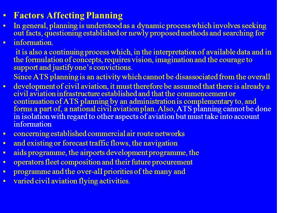 Factors Affecting Planning