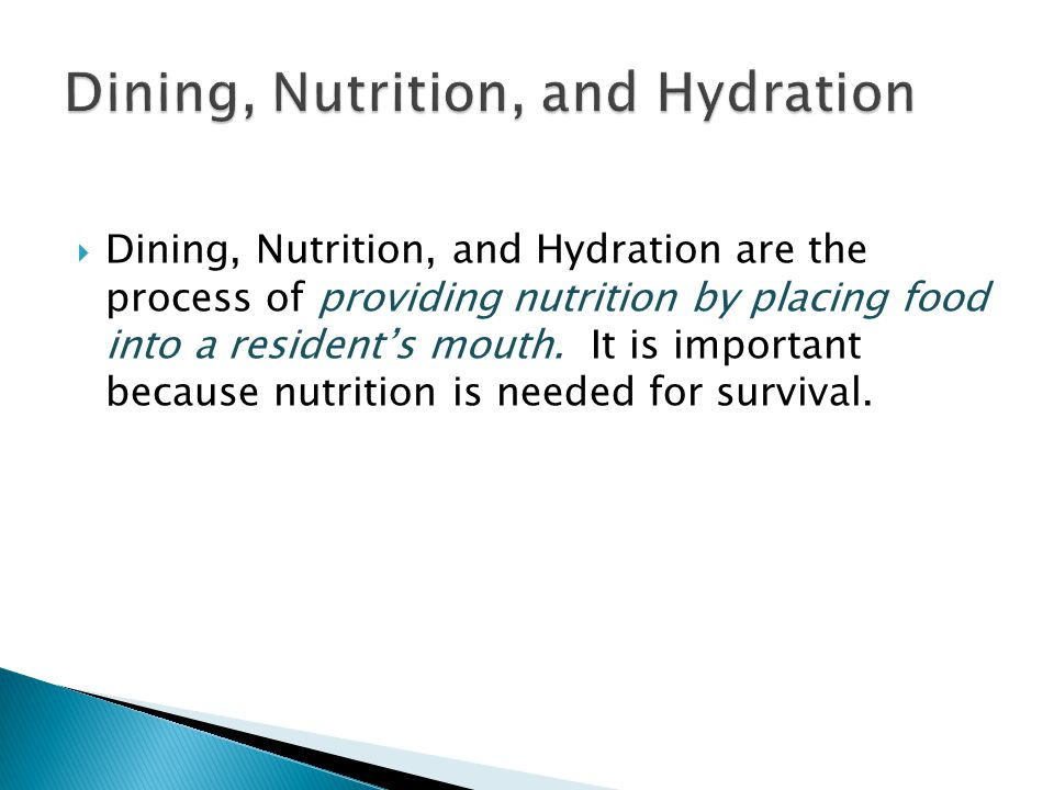 Dining, Nutrition, and Hydration