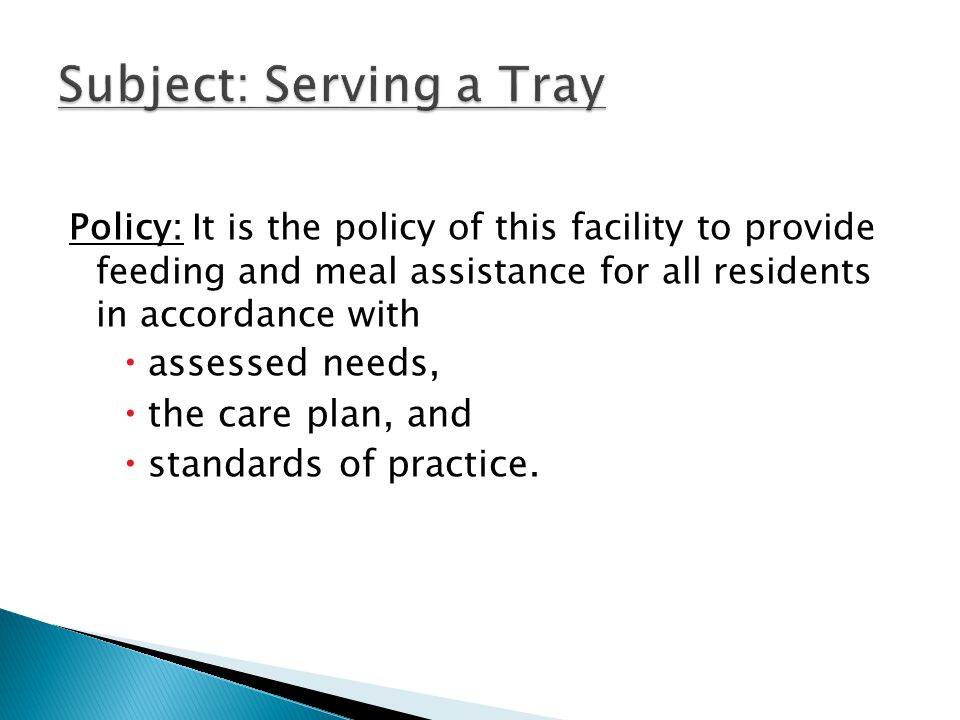 Subject: Serving a Tray