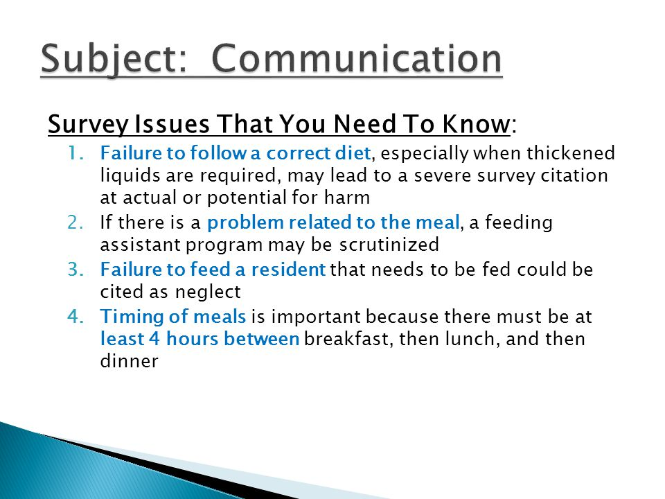 Subject: Communication