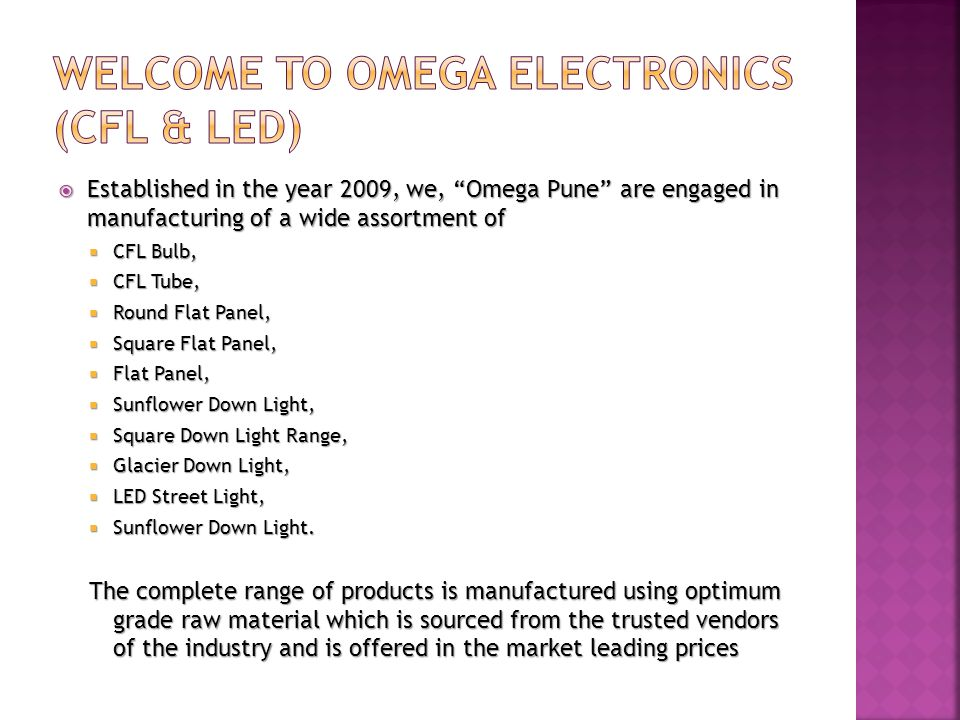WELCOME TO OMEGA ELECTRONICS (CFL & LED)