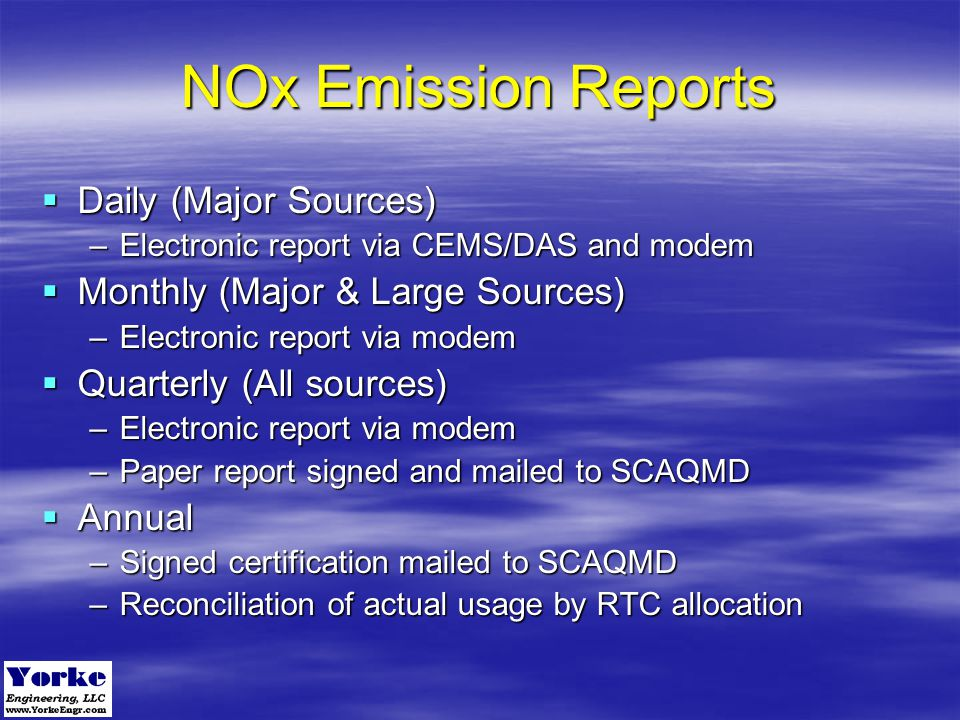 NOx Emission Reports Daily (Major Sources)
