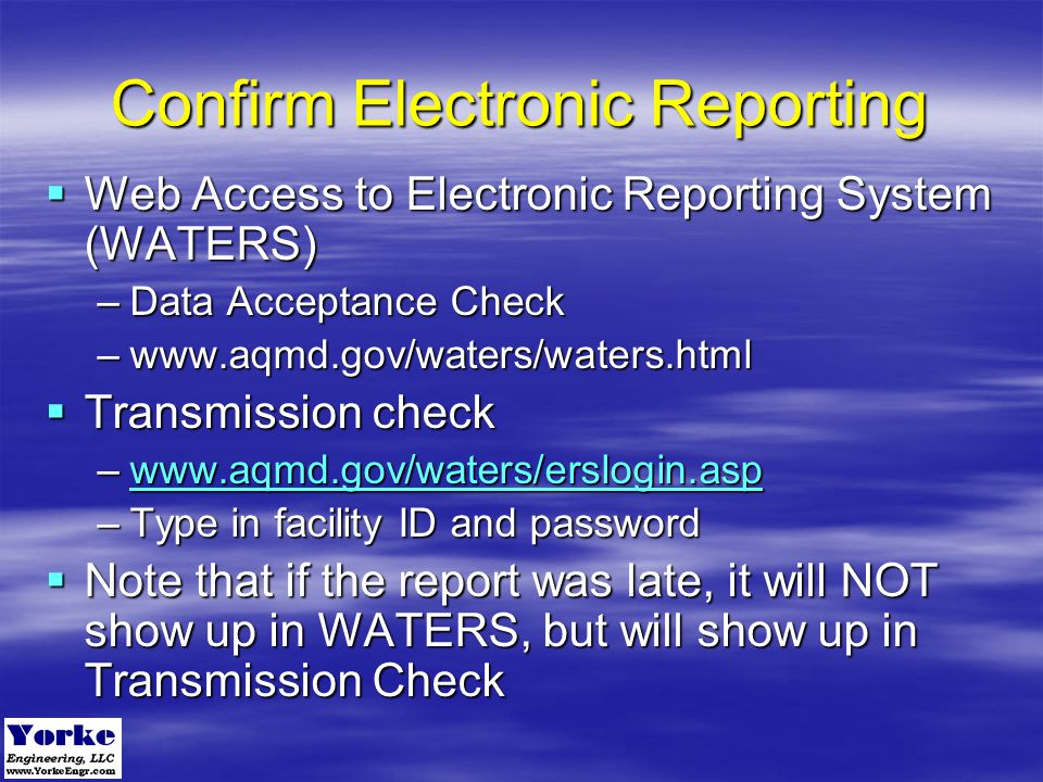 Confirm Electronic Reporting