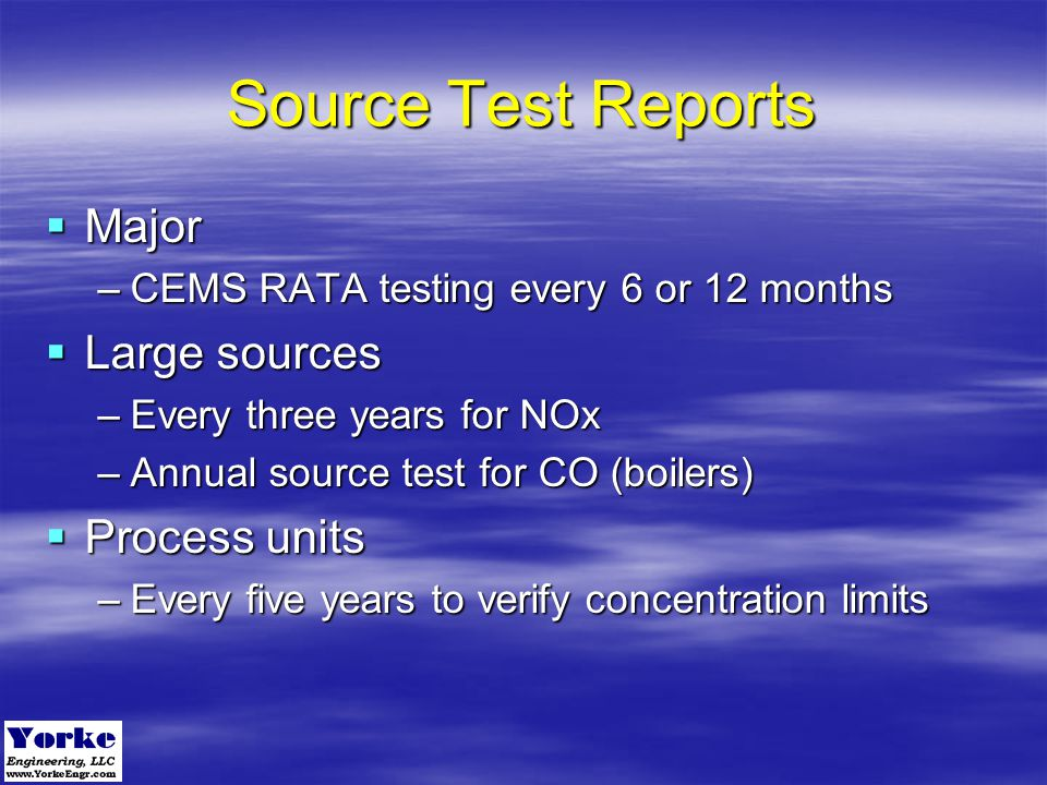 Source Test Reports Major Large sources Process units