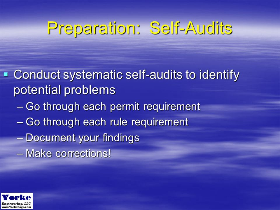 Preparation: Self-Audits