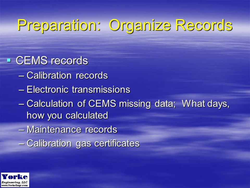 Preparation: Organize Records