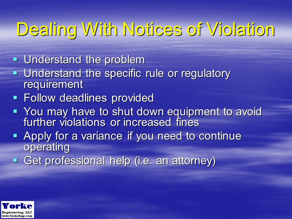 Dealing With Notices of Violation
