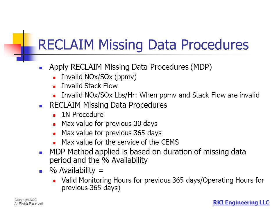 RECLAIM Missing Data Procedures