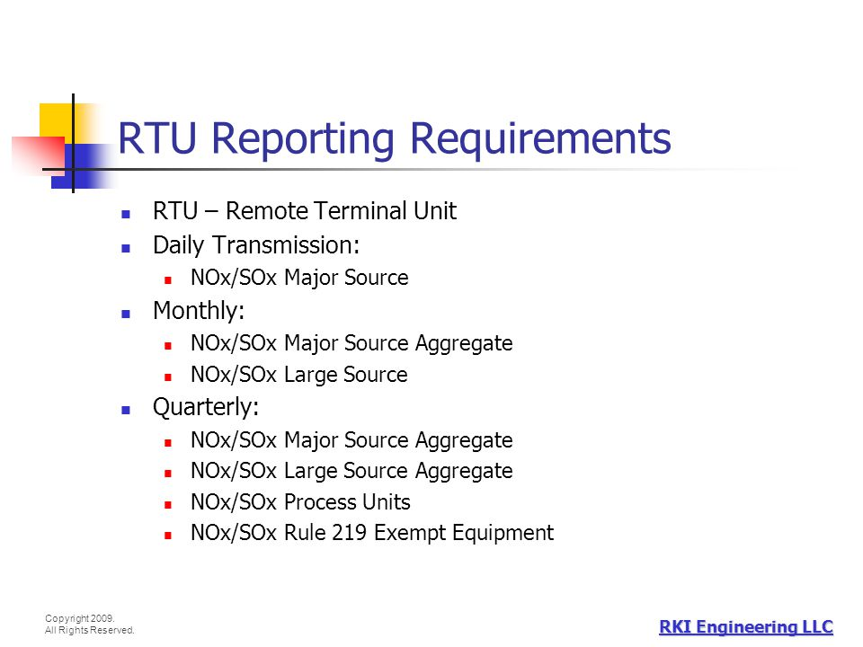 RTU Reporting Requirements