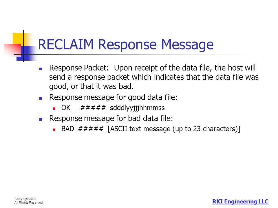 RECLAIM Response Message
