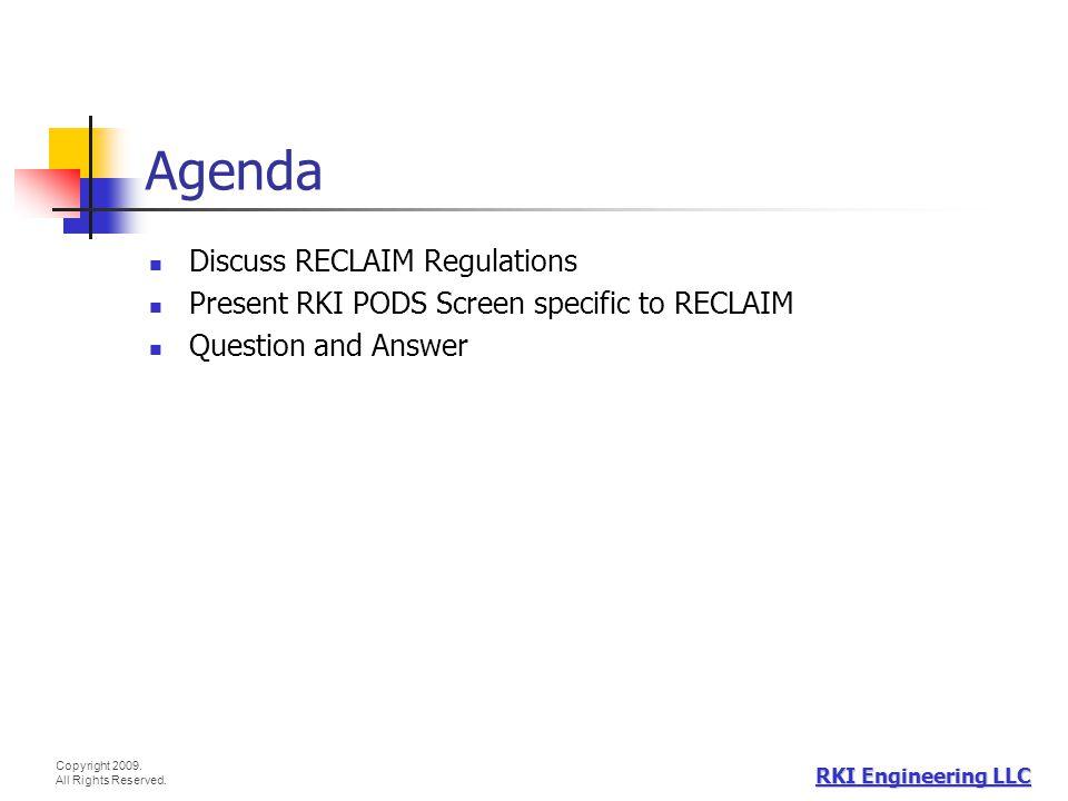 Agenda Discuss RECLAIM Regulations