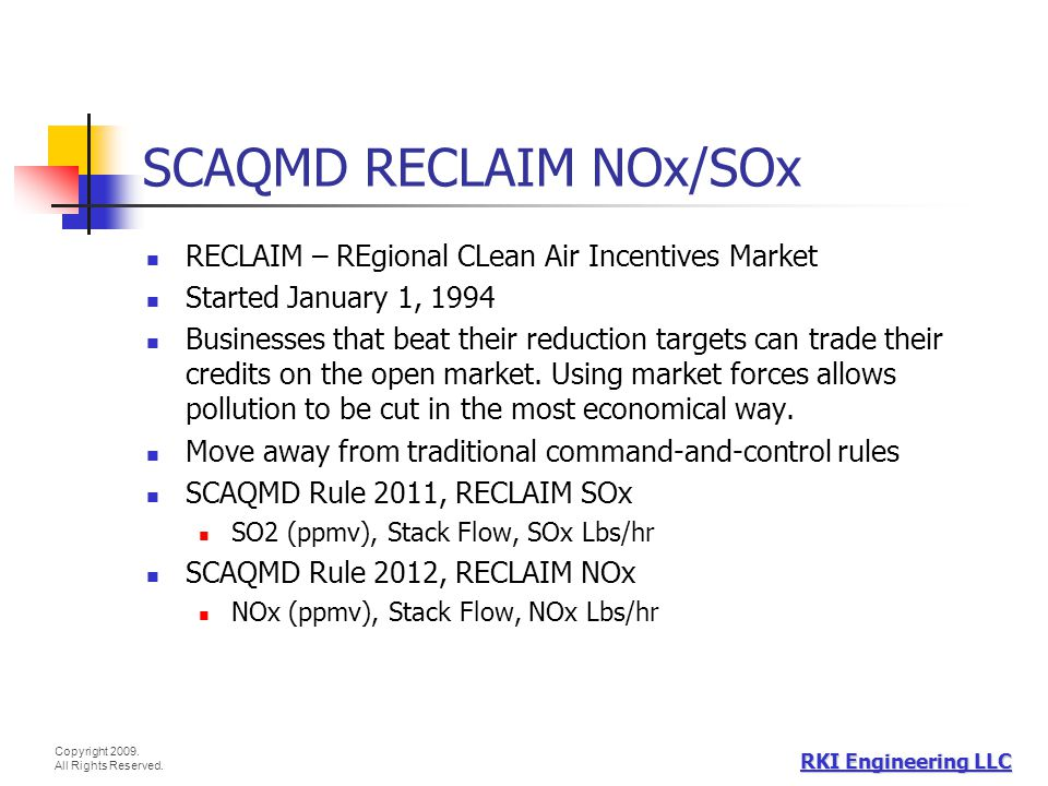 SCAQMD RECLAIM NOx/SOx