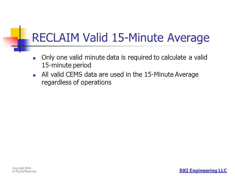RECLAIM Valid 15-Minute Average
